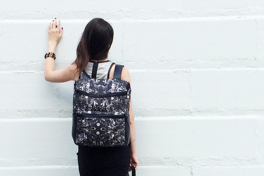 Printed canvas backpack by Maggie Modena