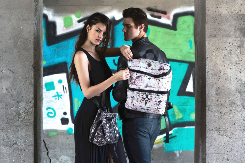 Printed handbags and backpacks by maggie modena